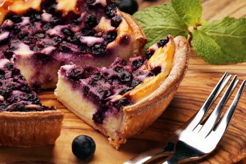 Empanada de arándano o pastel de queso hecho en casa con los arándanos Delicous imágenes de archivo libres de regalías
