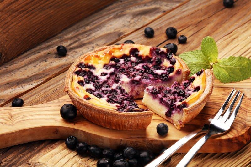 Empanada de arándano o pastel de queso hecho en casa con los arándanos Delicous fotos de archivo libres de regalías