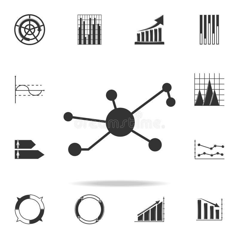 Empanada de las estadísticas del icono del gráfico de sectores Sistema detallado de iconos del diagrama y de la carta de la tende stock de ilustración