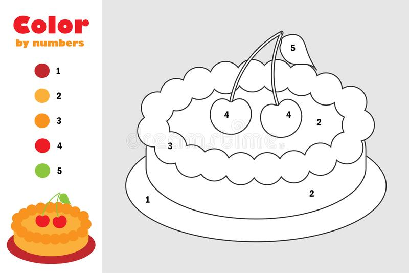 Empanada en el estilo de la historieta, color por el número, juego del papel de la educación para el desarrollo de niños, página  ilustración del vector