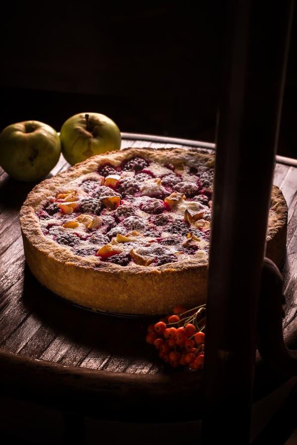 Empanada hecha en casa con las manzanas y la zarzamora en fondo oscuro fotos de archivo