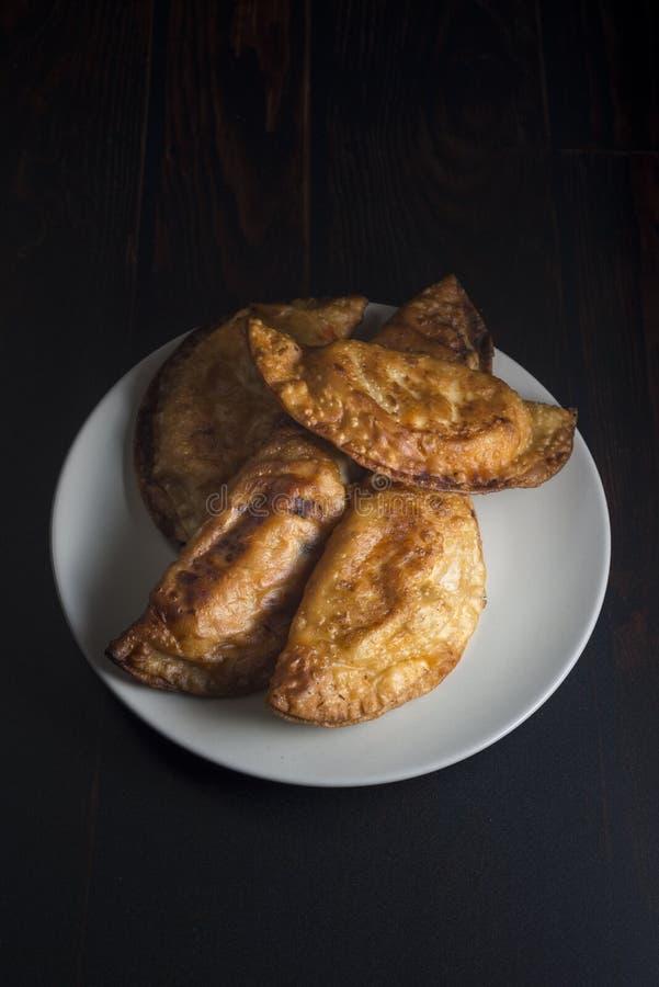 Empanada hecha en casa del atún y del tomate - aperitivo tradicional español foto de archivo libre de regalías