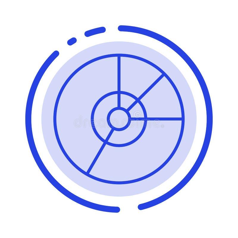 Empanada, negocio, carta, diagrama, finanzas, gráfico, línea de puntos azul línea icono de las estadísticas ilustración del vector