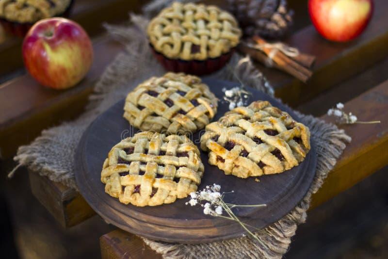 Empanadas de la mano de la manzana, stciks del canela y manzanas orgánicos hechos en casa imágenes de archivo libres de regalías