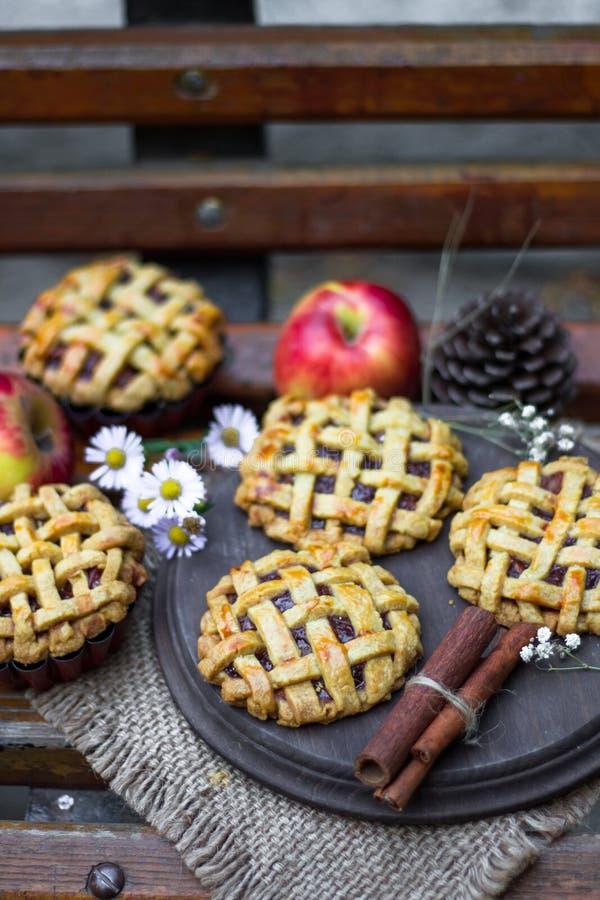 Empanadas de la mano de la manzana, stciks del canela y manzanas orgánicos hechos en casa imagen de archivo