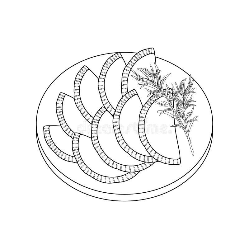 Empanadas färgläggningsida royaltyfri illustrationer