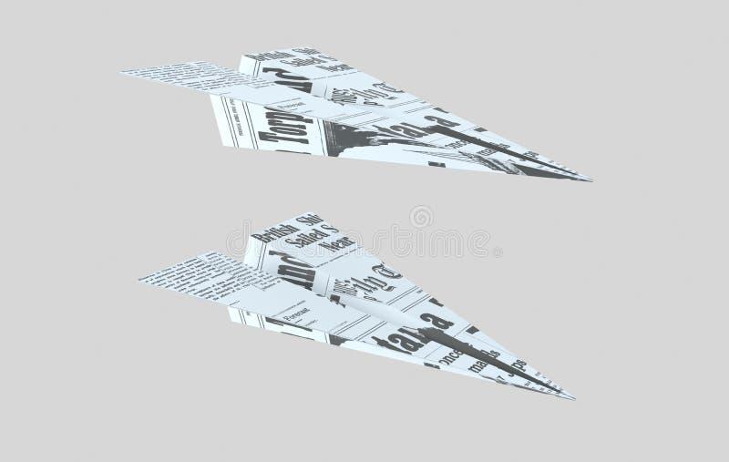 Empapele el plano Avión de las palabras ilustración 3D stock de ilustración