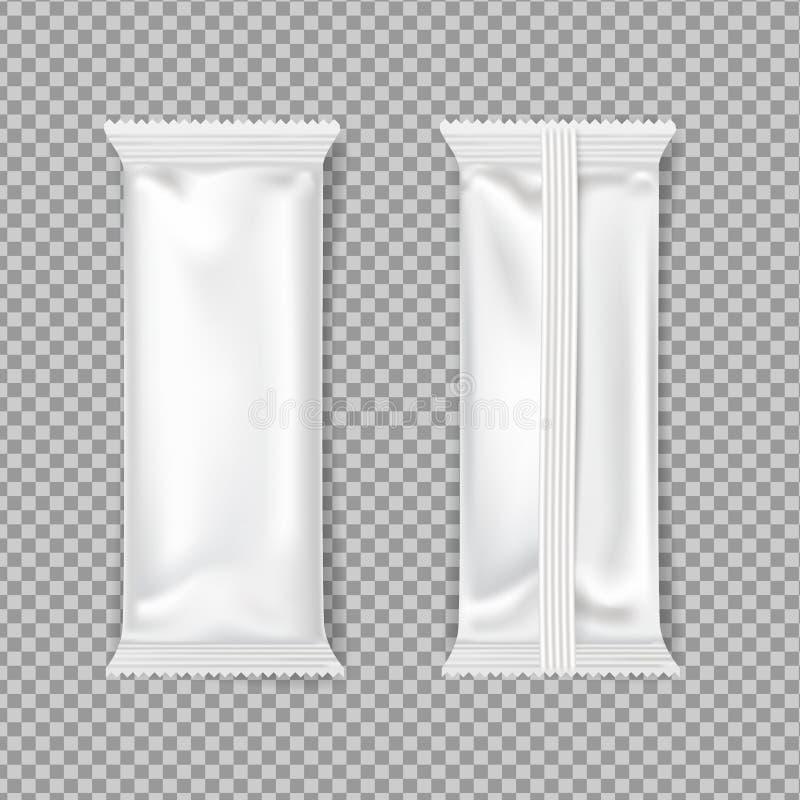 Empaquetado blanco de la barra de chocolate Maqueta del vector lado superior y trasero ilustración del vector