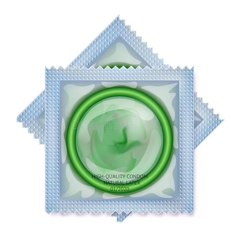Empaquetado Con Un Condón Sistema De Condones Del Látex En Paquete ...