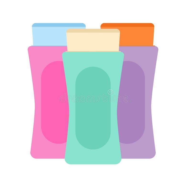 Empaquetado cosmético de la piel del fondo del vector de la belleza poner crema Ejemplo de la botella del cuidado stock de ilustración