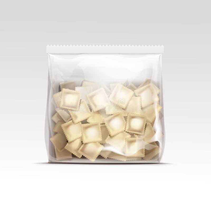 Empaquetado de los raviolis de las bolas de masa hervida de la carne de Pelmeni stock de ilustración
