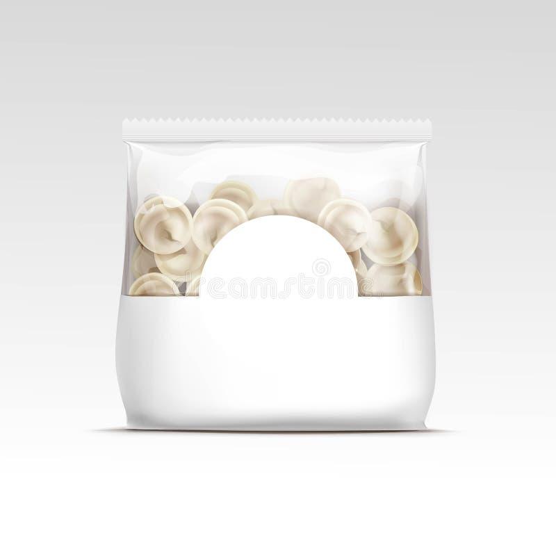 Empaquetado de los raviolis de las bolas de masa hervida de la carne de Pelmeni libre illustration