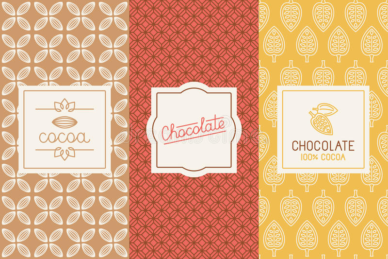 Empaquetado del chocolate y del cacao ilustración del vector
