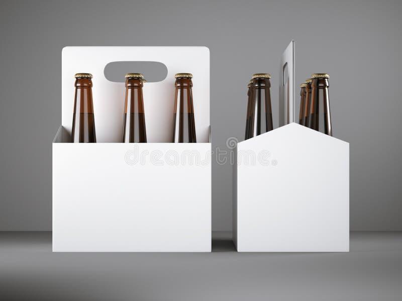 Empaquetado en blanco blanco de la cerveza stock de ilustración