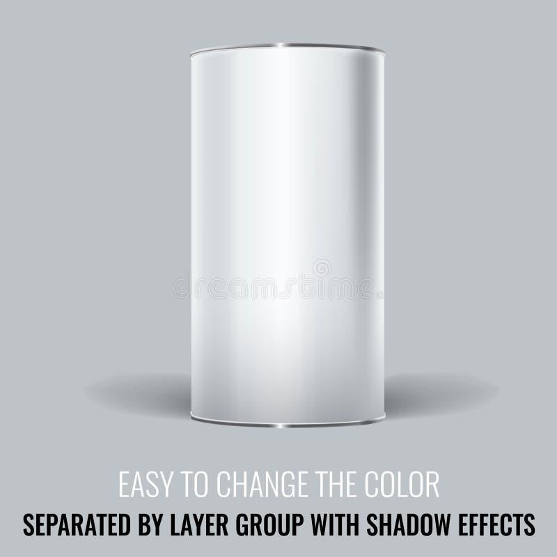 Empaquetado en blanco blanco de Tincan Diseño ascendente de la mofa del vector libre illustration