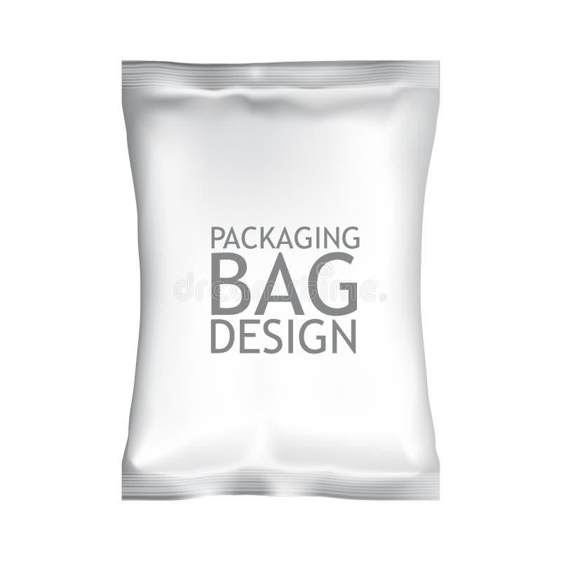 Empaquetado en blanco blanco del bolso de la bolsita del bocado de la comida de la hoja fotografía de archivo libre de regalías