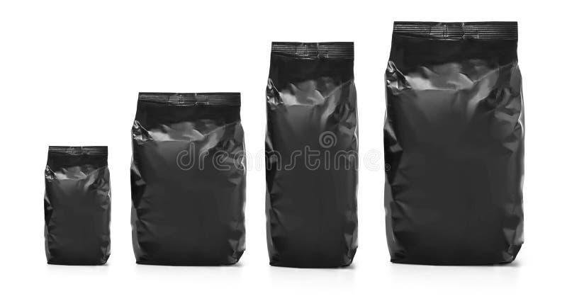 Empaquetado en blanco negro del bolso de la hoja fotos de archivo libres de regalías