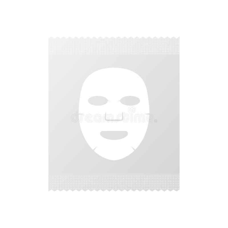 Empaquetado facial de los cosméticos de la máscara Icono plano de la máscara facial Medicina, cosmetología y atención sanitaria I stock de ilustración