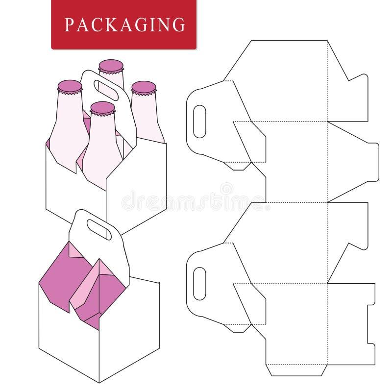 Empaquetado para la botella de la poder Ejemplo falso al por menor blanco aislado del upVector de la caja ilustración del vector