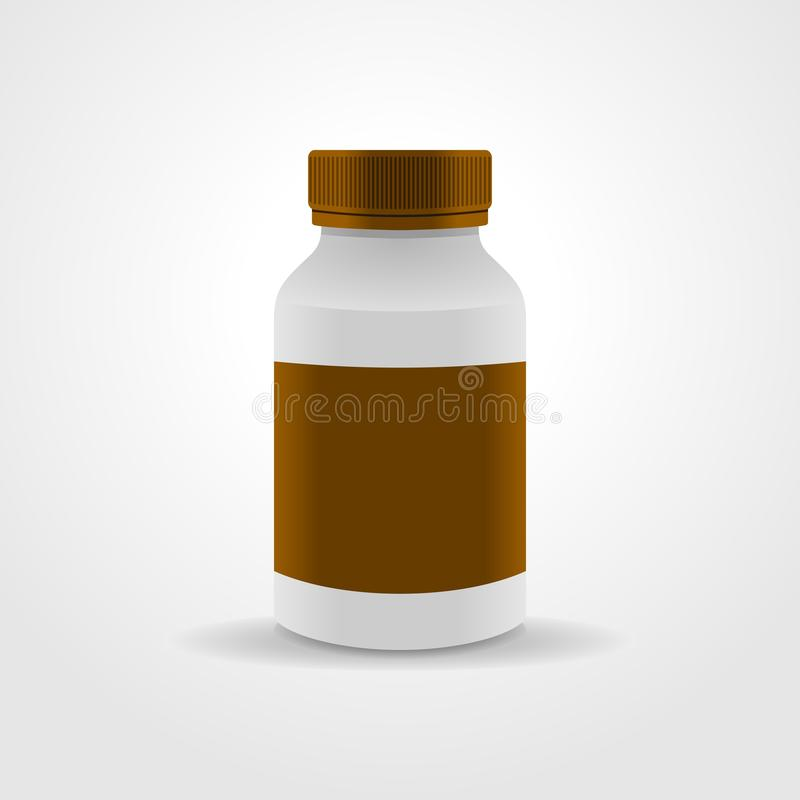 Empaquetado realista de la botella de la medicina, aislado en el fondo blanco ilustración del vector