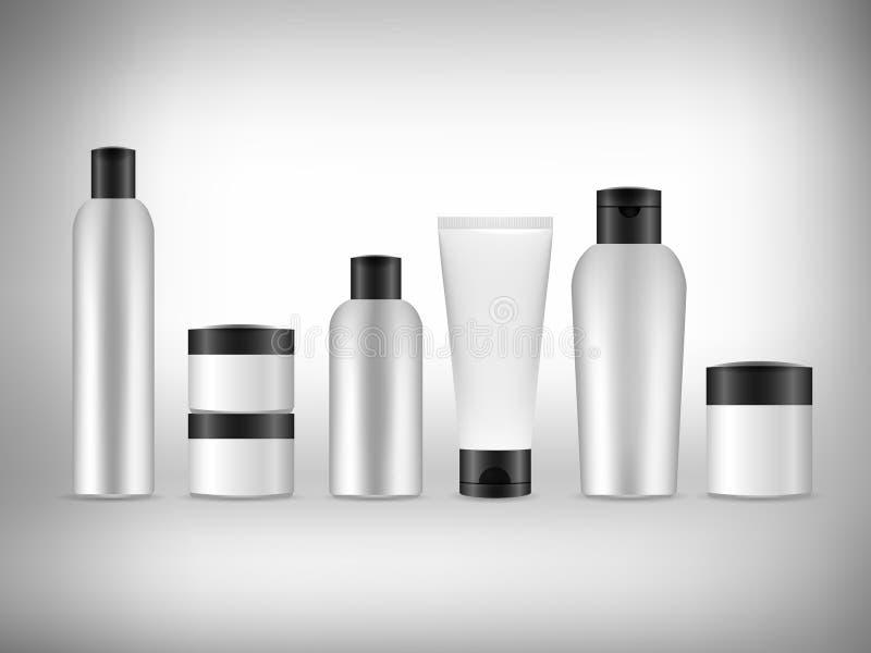 Empaquetage de cosmétiques de blanc du vecteur 3d illustration de vecteur