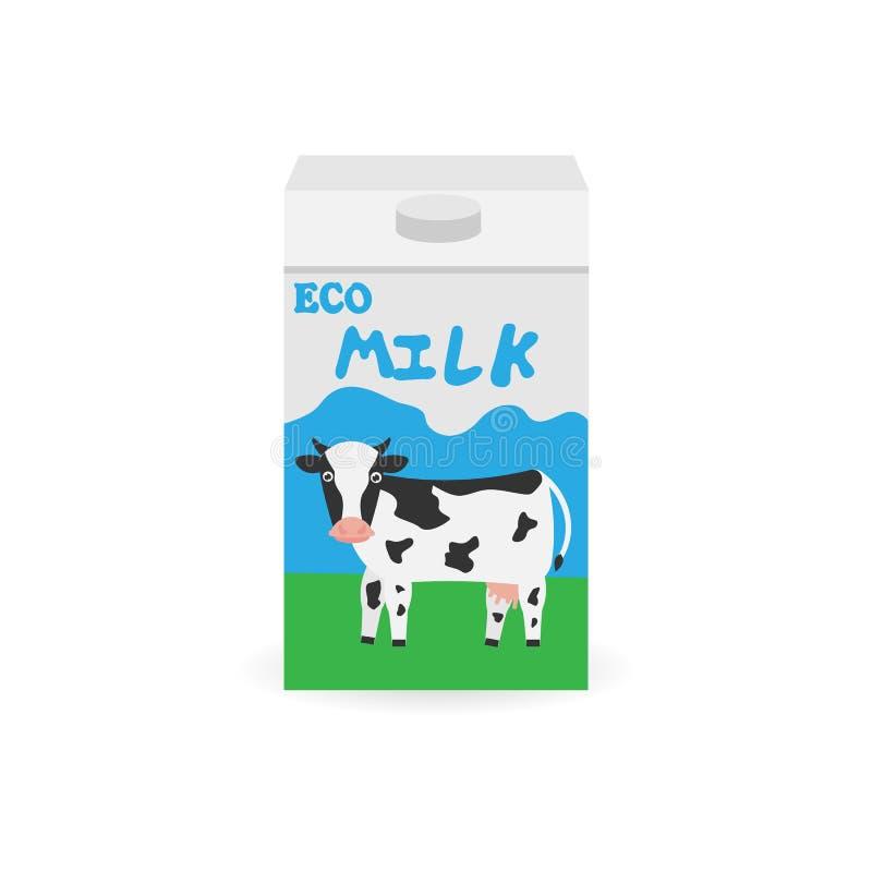 Empaquetage du lait Trayez le cadre Paquet de lait Produit biologique naturel illustration libre de droits