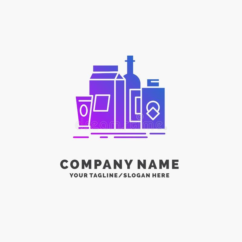 empaquetant, marquage à chaud, lançant sur le marché, produit, affaires pourpres Logo Template de bouteille Endroit pour le Tagli illustration de vecteur