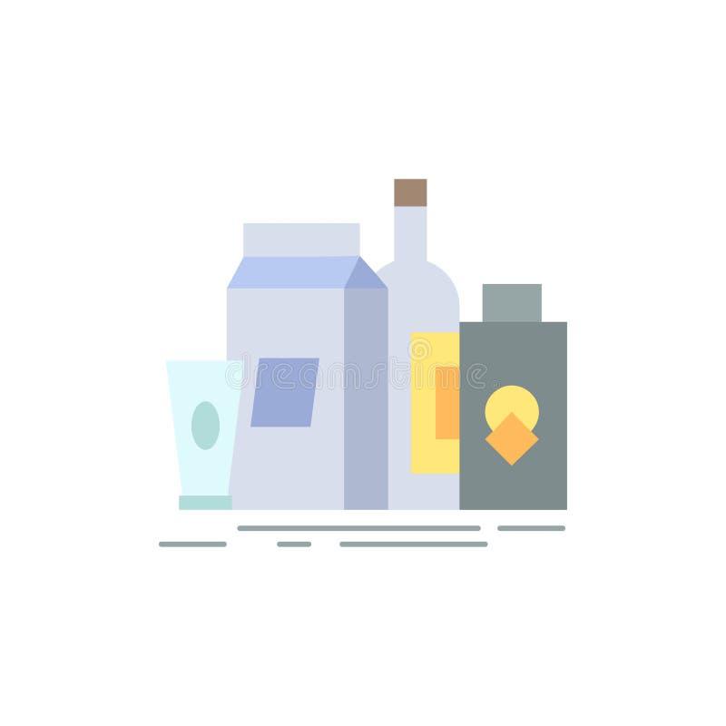 empaquetant, marquage à chaud, lançant sur le marché, produit, vecteur plat d'icône de couleur de bouteille illustration libre de droits