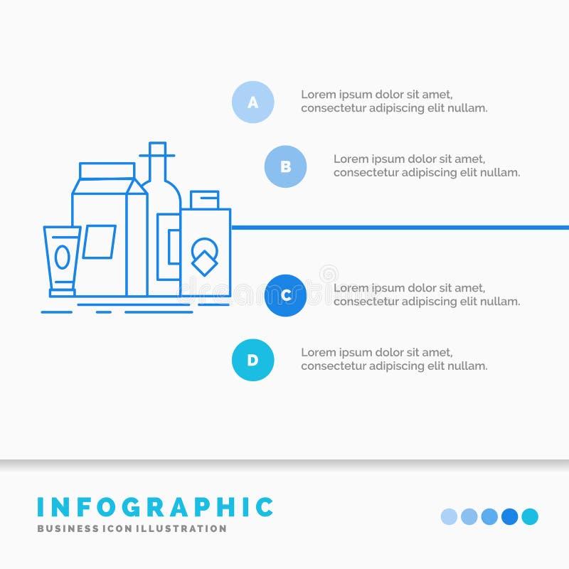 empaquetant, stigmatisant, lan?ant, produit sur le march?, calibre d'Infographics de bouteille pour le site Web et pr?sentation L illustration de vecteur