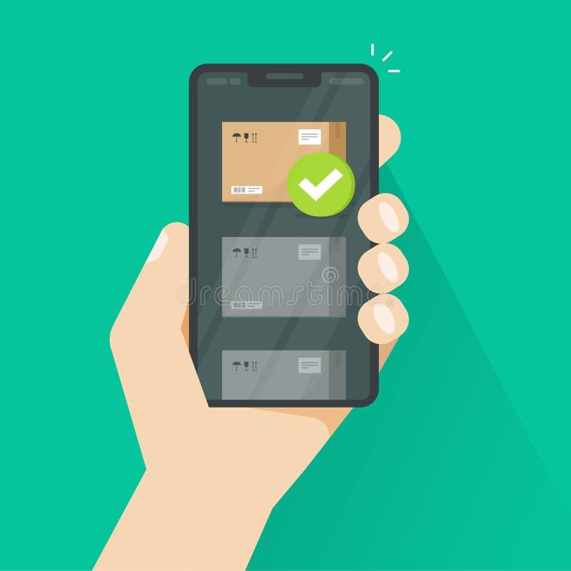 Empaquete el seguimiento o entregado vía el ejemplo del vector del smartphone, app plano de la pista del envío del teléfono móvil stock de ilustración
