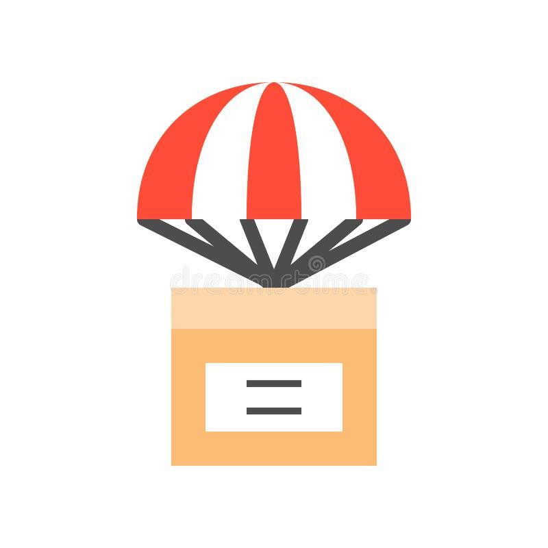 Empaquete la caja con el paracaídas, icono plano del concepto de la entrega ilustración del vector