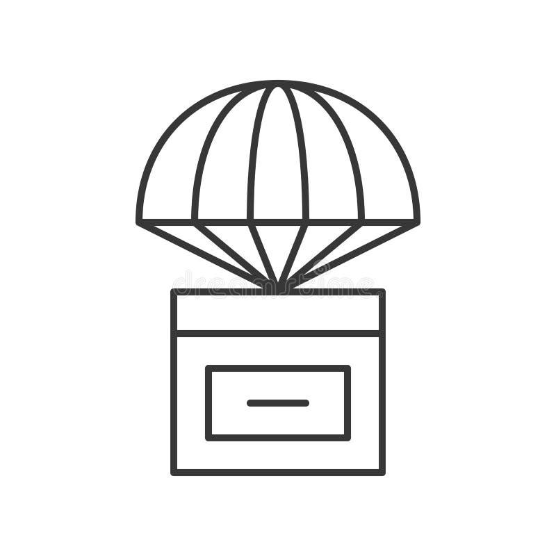 Empaquete la caja con el paracaídas, línea icono del concepto de la entrega stock de ilustración