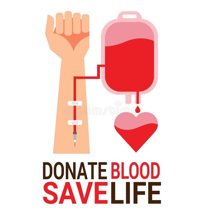 Empaquete la sangre con la mano del donante para el día del donante de sangre del mundo stock de ilustración
