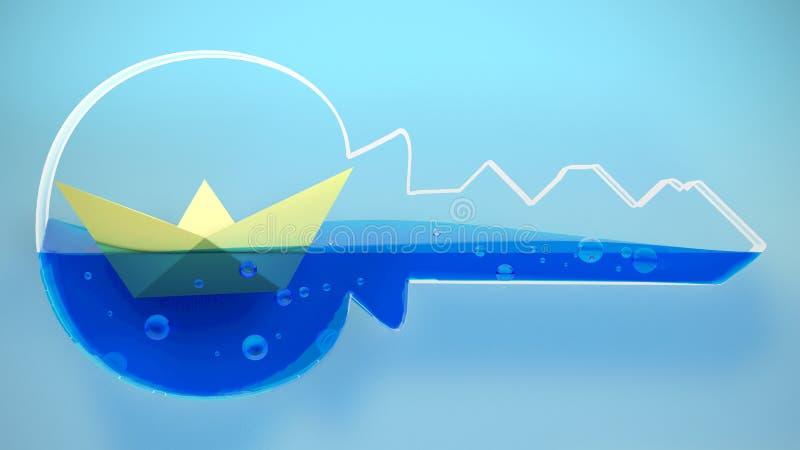 Empaquetez la navigation pliée de bateau dans une clé rendu 3d illustration de vecteur