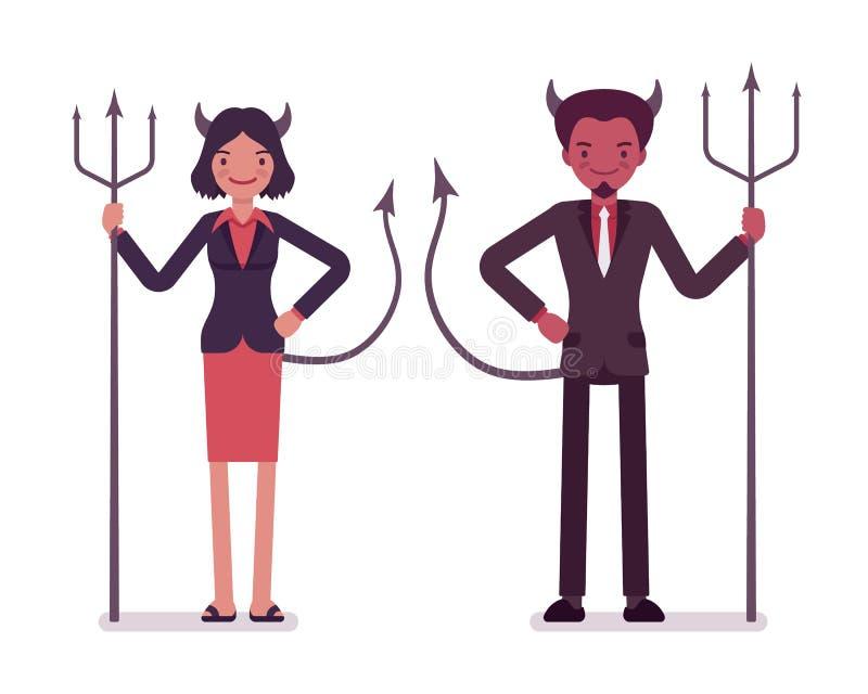 Emparéjese de diablos, de hombre y de mujer ilustración del vector