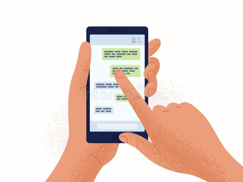 Emparéjese de las manos que sostienen smartphone o el teléfono móvil con el uso de la charla o del mensajero en la pantalla Mensa stock de ilustración