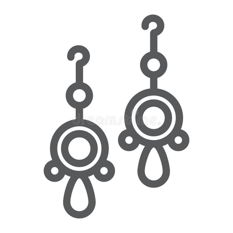 Emparéjese de pendientes alinean el icono, la joyería y el accesorio, muestra redondeada de los pendientes, gráficos de vector, u ilustración del vector