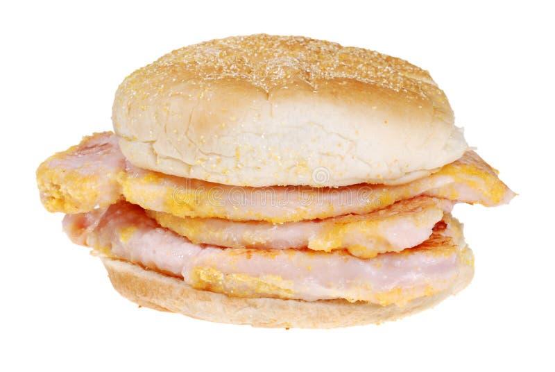 Emparedado canadiense del bacon de lomo imagenes de archivo