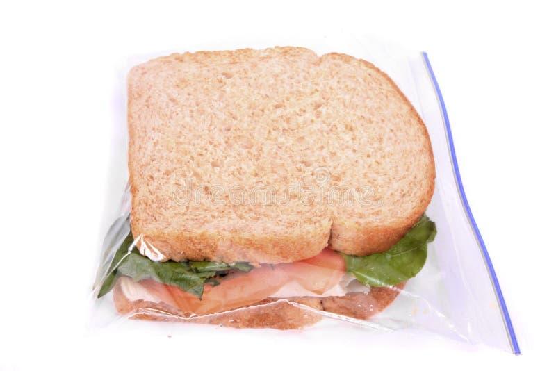 Emparedado en bolso plástico relampagado del almuerzo fotografía de archivo