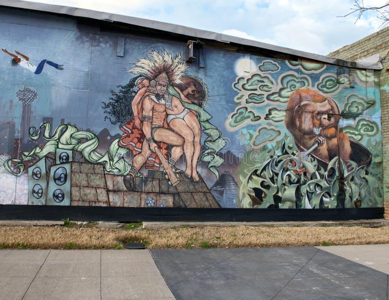 Emparede el mural del arte en Ellum profundo, Dallas, Tejas fotografía de archivo