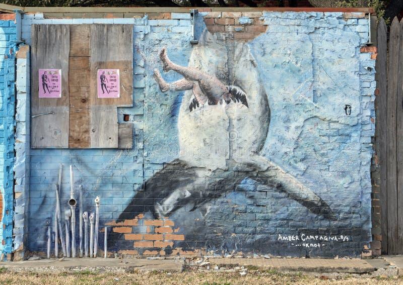 Emparede el mural del arte en Ellum profundo, Dallas, Tejas imagenes de archivo