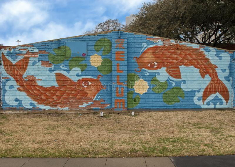 Emparede el mural del arte en Ellum profundo, Dallas, Tejas fotografía de archivo libre de regalías