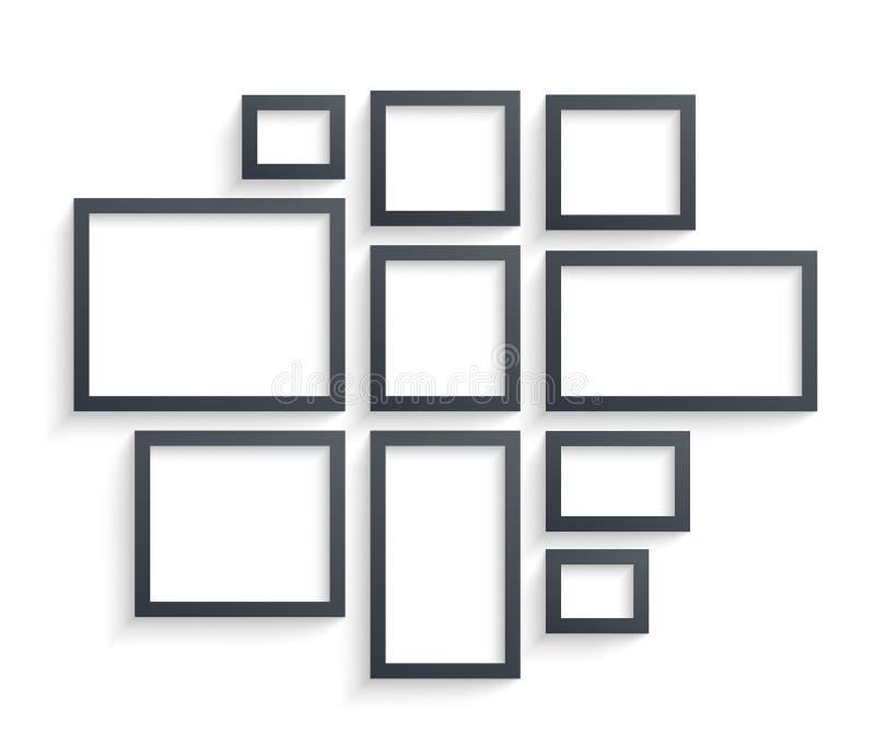 Emparede las plantillas del marco aisladas en el fondo blanco Marcos en blanco de la foto con la sombra y las fronteras y vector  libre illustration