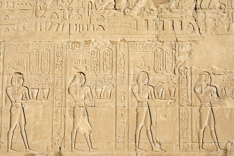 Emparede tallando, el templo de Edfu, Egipto imagenes de archivo