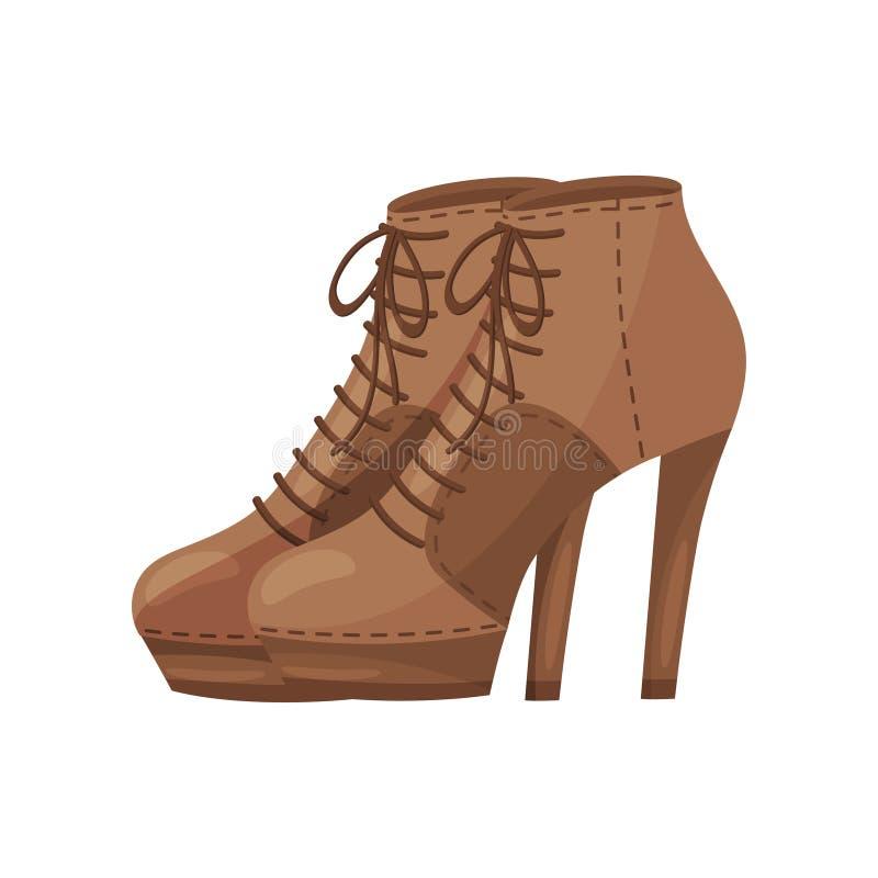 Emparelhe das botas do tornozelo das mulheres com os laços, vista lateral Sapatas à moda com saltos altos Calçados na moda Projet ilustração do vetor
