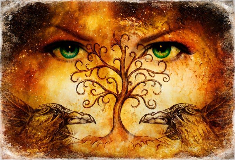 Emparelhe dos corvos com a árvore do símbolo da vida e dos olhos fêmeas verdes da deusa no horizonte ilustração royalty free