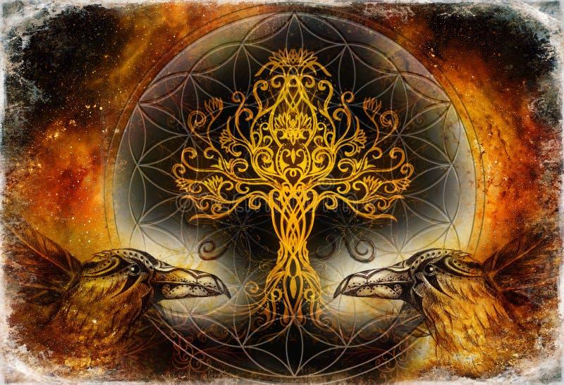 Emparelhe dos corvos com a ?rvore de vida e a flor sagrado da geometria do s?mbolo da vida, fundo do espa?o ilustração do vetor