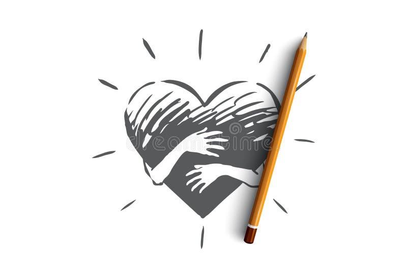 Empathie, coeur, amour, charité, concept de soutien Vecteur d'isolement tiré par la main illustration de vecteur