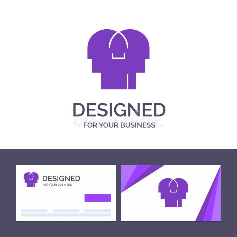 Empathie de visite de calibre créatif de carte de visite professionnelle et de logo, sentiments, esprit, illustration principale  illustration stock
