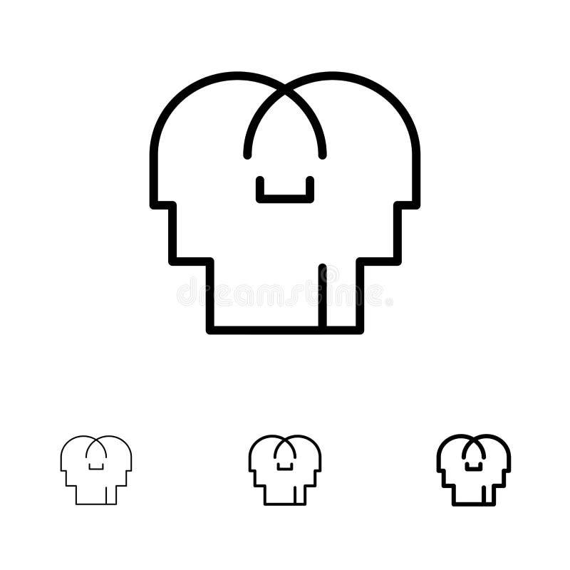 Empathie, sentiments, esprit, ligne noire audacieuse et mince principale ensemble d'icône illustration de vecteur